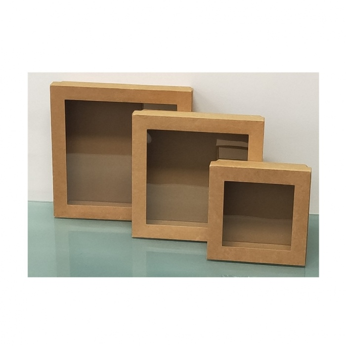 Brown Square Grazing Box with Window Lid