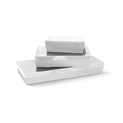 Premium White Corrugated Catering Trays With Clear PET Lids