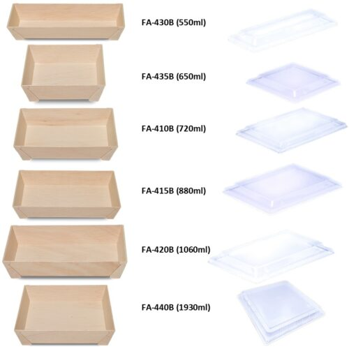 Falca Tainer Wooden Veneer Tray with Foot and Clear Lid - FA-440B