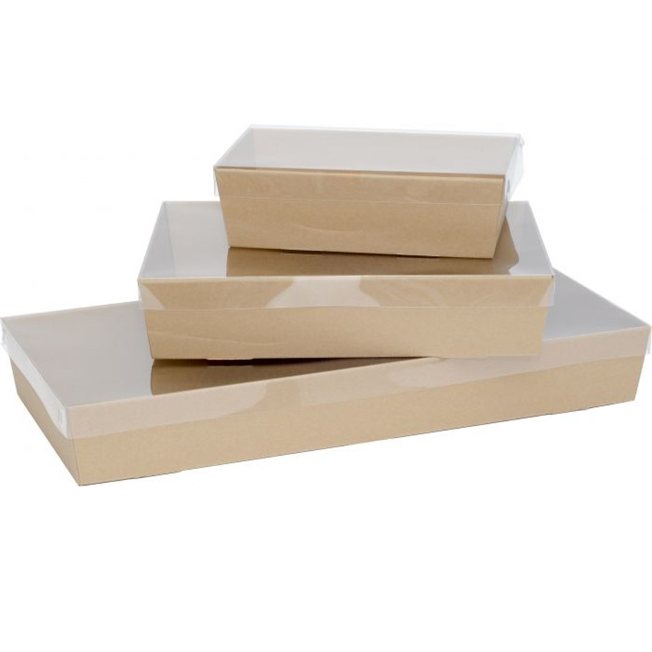 Premium Brown Corrugated Catering Trays With Clear PET Lids