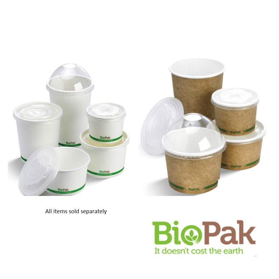 BioBowls Paper Bowls and Lids - 250ml, 430ml, 550ml, 740ml, 950ml