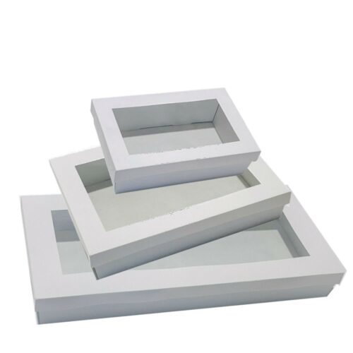 Premium White Corrugated Catering Trays With Window Lids