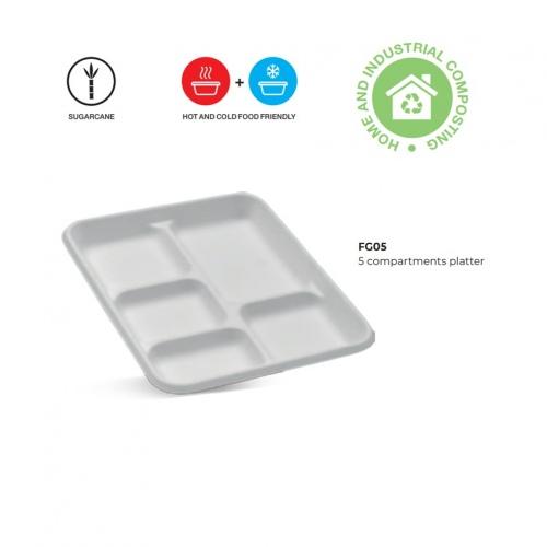 Sugarcane 5 Compartment Platter - FG05