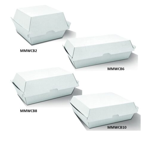 Corrugated White Takeaway Clamshell Boxes