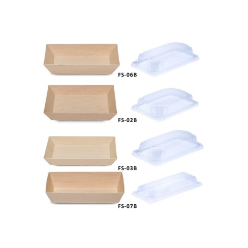 Falca Tainer Wooden Veneer Rectangular with Foot and Clear Lid