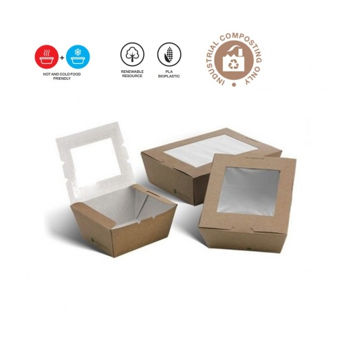 PLA Coated Takeaway Lunch Boxes with Window