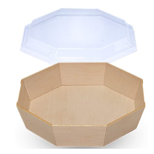 Falca Tainer Wooden Veneer Octagon Box with Clear Lid - FAN-12B
