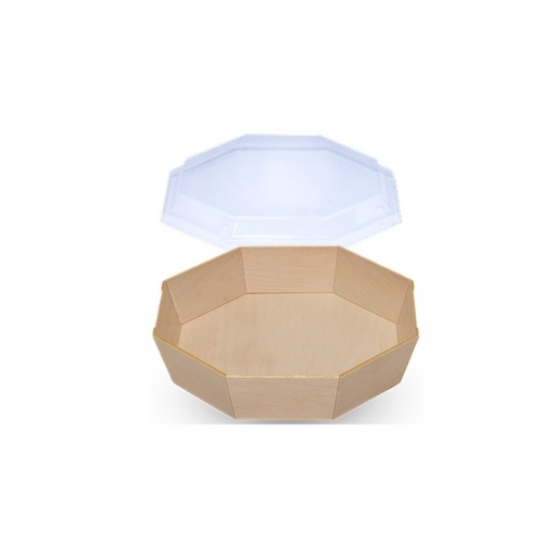 Falca Tainer Wooden Veneer Octagon Tray with Clear Lid
