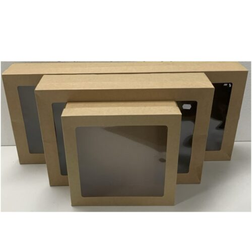 Brown Corrugated Catering Trays With Window Lids