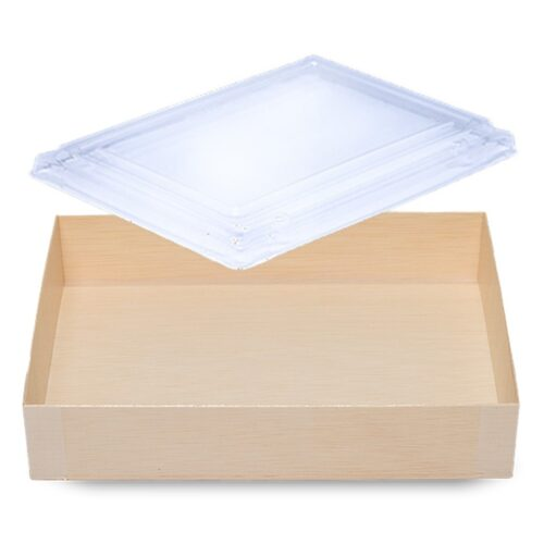 Falca Tainer Wooden Veneer Rectangular Foldable Box with Clear Lid FD-120B