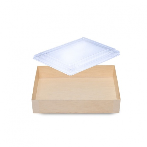 Falca Tainer Wooden Veneer Rectangular Foldable Box with Clear Lid - FD-120B