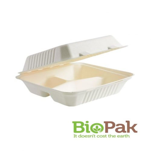 BioPak BioCane White 3 Compartment Clamshell - BP3445695
