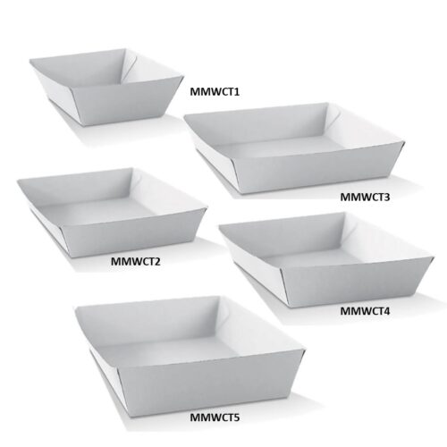 Corrugated White Takeaway Trays