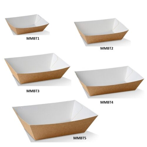 Cardboard Takeaway Trays Brown/White
