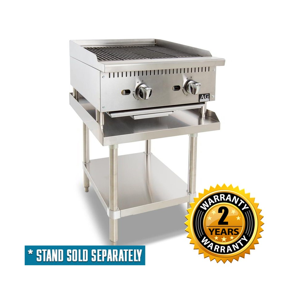 AG Commercial 2 Burner Chargrill with Lava Rock 610mm - AGCH-61-LPG