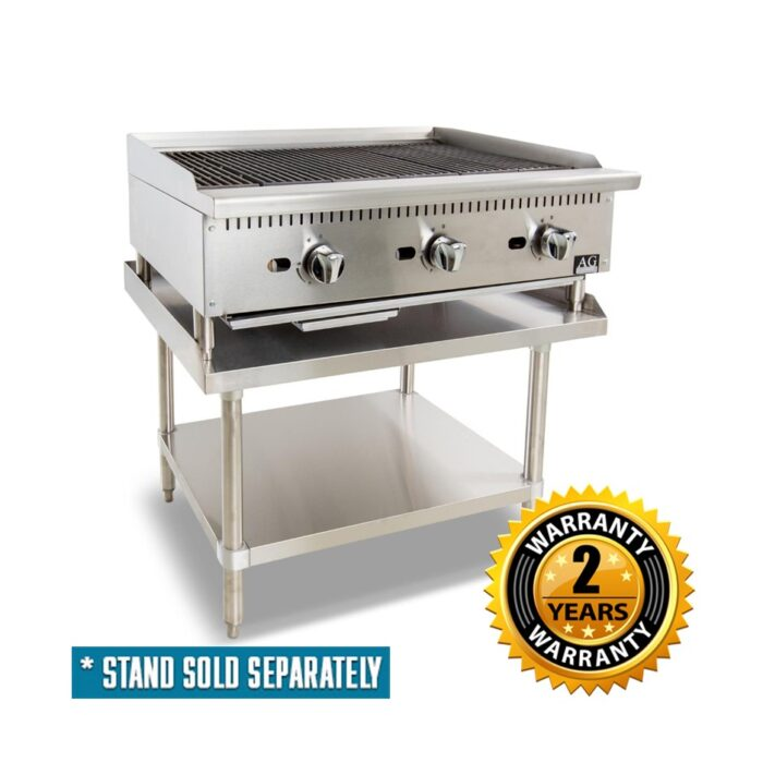 AG Commercial 3 Burner Chargrill with Lava Rock 910mm - AGCH-91-NG