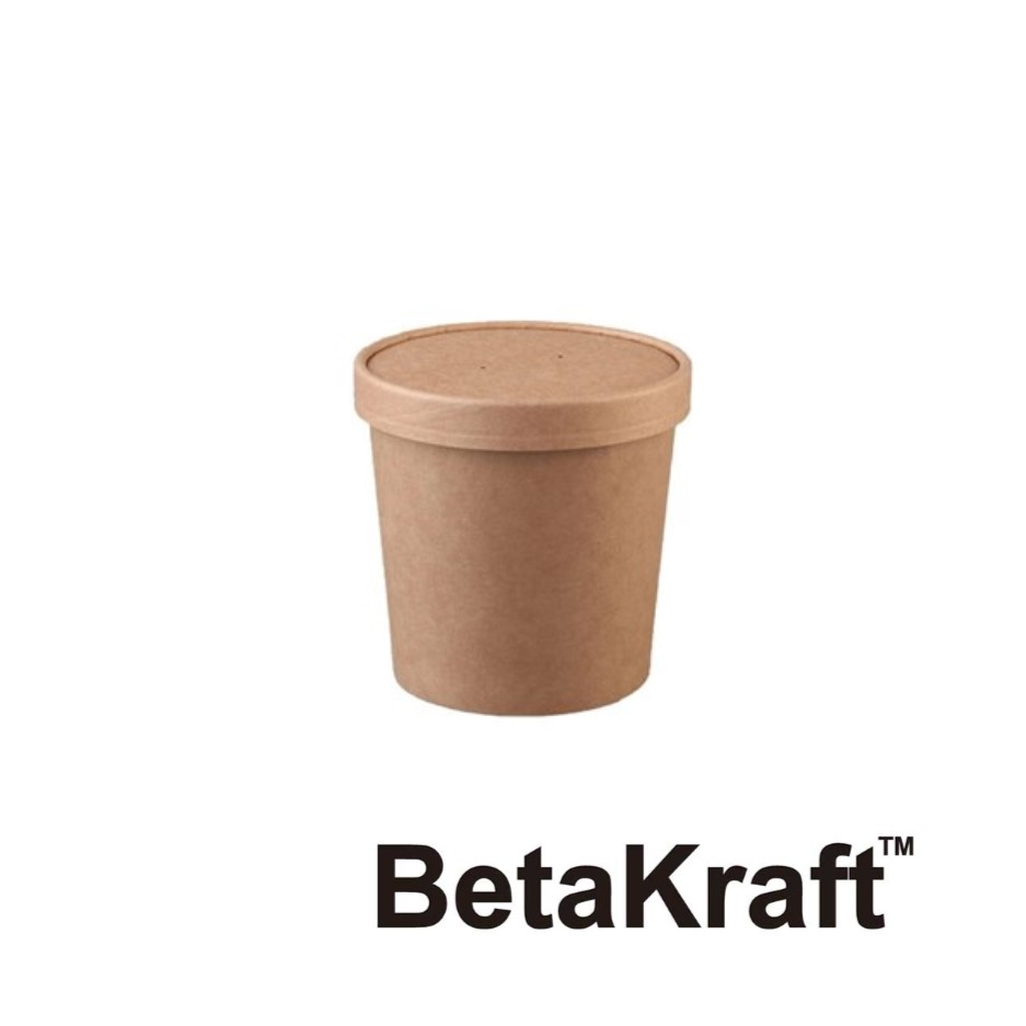Eco BetaKraft Round Container with Lid - BK3423313
