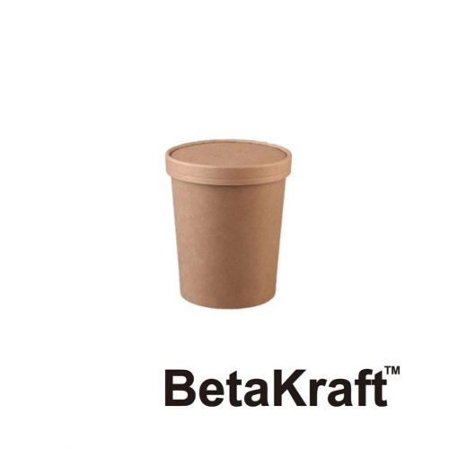 Eco BetaKraft Round Container with Lid - BK3423314