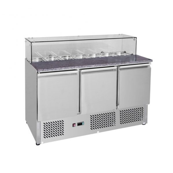 Temperate Thermaster Square Glass Sandwich Prep Bench - GNS1300E