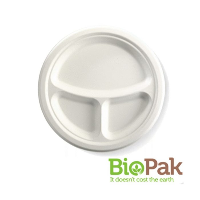 BioCane 3 Compartment Round Plate
