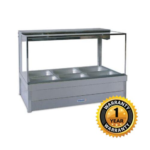 Roband Double Row Square Glass Hot Foodbar - S23