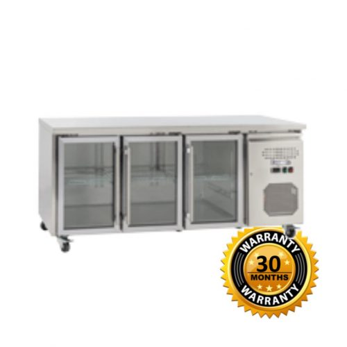 Exquisite Underbench Fridge with 3 Glass Doors Slim Line - SSC400G